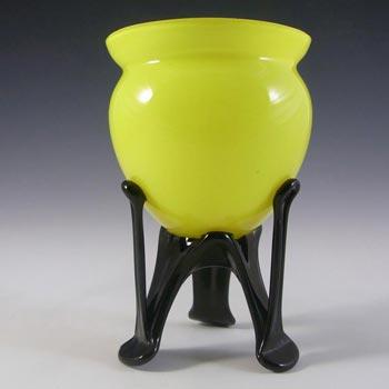 Czech 1930's/40's Yellow & Black Glass Tango Vase