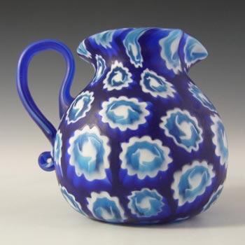 Fratelli Toso Millefiori Canes Murano Blue Glass Jug / Creamer