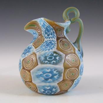 Fratelli Toso Millefiori Canes Murano Blue & Brown Glass Jug / Creamer