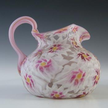 Fratelli Toso Millefiori Canes Murano Pink & White Glass Jug