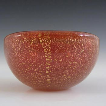 Venini Murano Red Glass Gold Leaf Bowl by Carlo Scarpa