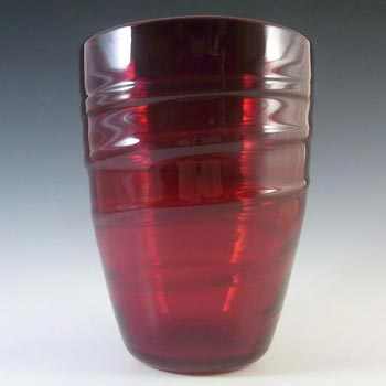 Whitefriars #9030 Powell Ruby Red Glass Ribbon Trail Vase