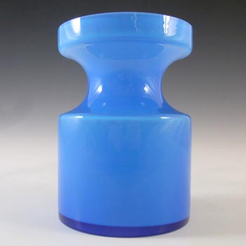 SIGNED Alsterfors/Per Strom Blue Hooped Vintage Glass Vase