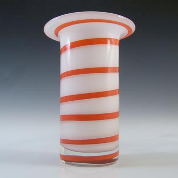 SIGNED Alsterfors/Per Strom White & Red Striped Glass Vase