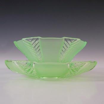 Walther & Sohne Art Deco Uranium Green Glass 'Athene' Bowl & Plate