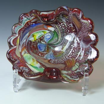 Murano Vintage Silver Leaf & Coloured Murrines Red Glass Bowl