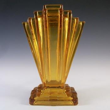 Bagley #334 Art Deco Vintage Amber Glass 'Grantham' Vase