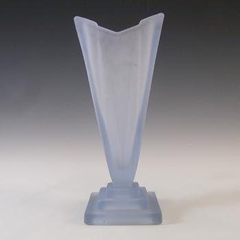 Bagley #1333 Art Deco Frosted Blue Glass 'Wyndham' Vase