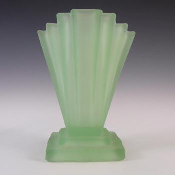 Bagley #334 Art Deco Frosted Green Glass 'Grantham' Vase