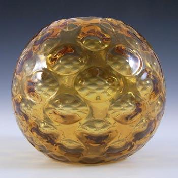 Borske Sklo Amber Glass Optical 'Olives' Globe Vase