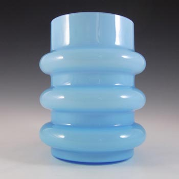 Vintage Scandinavian / Swedish 1970's Blue Hooped Glass Vase