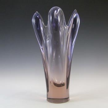 Skrdlovice #6348 Czech Pink & Purple Glass Vase by Rudolf Beránek