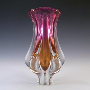 Chribska Vintage Pink & Orange Glass Vase by Josef Hospodka