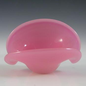 Murano Vintage Alabastro Pink & White Glass Clam Bowl/Vase