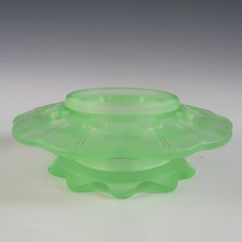 Walther Art Deco Uranium Green Glass Flower Frog Holder