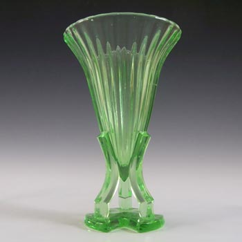 Czech Art Deco 1930's Uranium Green Glass Rocket Vase