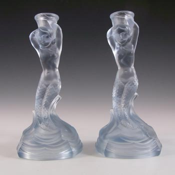Walther & Sohne Art Deco Blue Glass 'Nymphen' Candlesticks