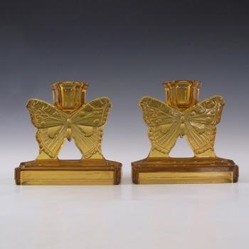 Bagley #3003 Art Deco Vintage Amber Glass 'Butterfly' Candlesticks