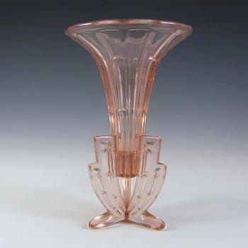 Stunning 1930's Czech Art Deco Pink Glass Rocket Vase