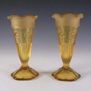 Bagley #3187 Pair of Art Deco Amber Glass 'Katherine' Vases