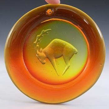 SIGNED Ekenas Orange Vintage Glass 'Capricorn' Suncatcher