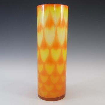 Elme 1970's Scandinavian Orange Vintage Glass Peacock Vase