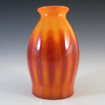 Elme Vintage Scandinavian Orange Cased Glass Striped Vase
