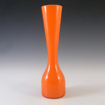 Empoli 1970's Italian Orange Retro Cased Glass Vase