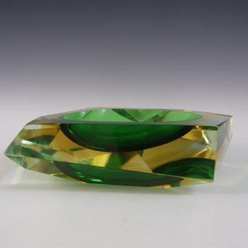 Murano Vintage Faceted Green & Amber Sommerso Glass Block Bowl