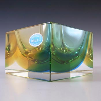 LABELLED Oball Murano Faceted Amber & Blue Sommerso Glass Block Bowl