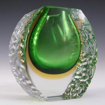 Mandruzzato Murano Faceted Green & Amber Sommerso Glass Vase
