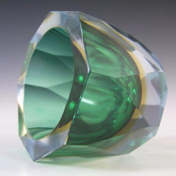 Murano Faceted Green, Amber & Blue Sommerso Glass Block Vase