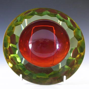 HUGE 2.4kg Murano Faceted Red & Amber Sommerso Glass Block Bowl