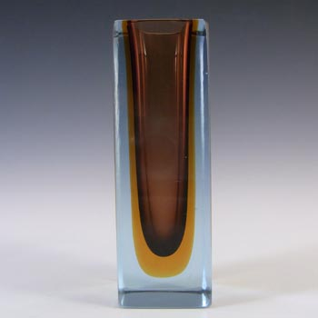 Murano Faceted Brown, Amber & Blue Sommerso Glass Block Vase