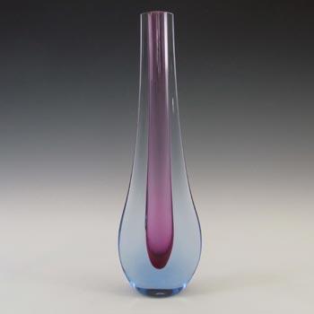 Galliano Ferro Murano Sommerso Purple & Blue Glass Stem Vase