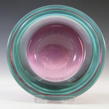 Murano Geode Pink & Turquoise Sommerso Glass Circle Bowl
