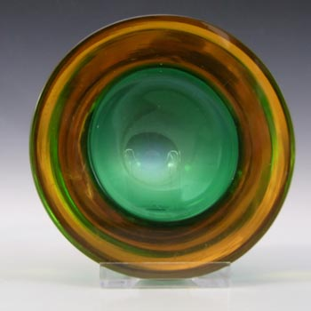 Murano Geode Green & Amber Sommerso Glass Circle Bowl