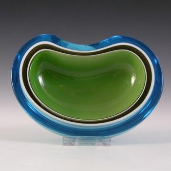 IVIMA Portugese Green, Black, White & Blue Cased Glass Geode Bowl