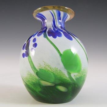 SIGNED & LABELLED Glory Art Glass British Blue & Green Vase