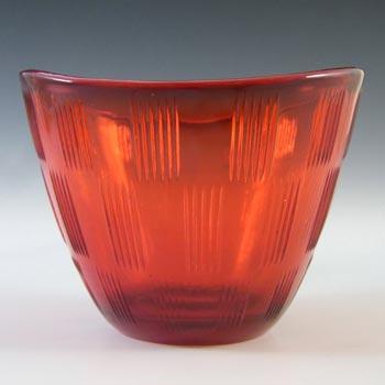 Gullaskruf Retro Red Glass 'Randi' Bowl by Lennart Andersson