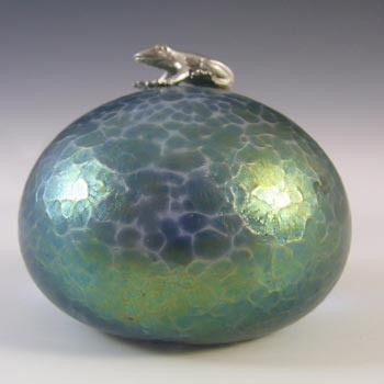 Heron Glass Blue Iridescent Pebble Paperweight & Frog Sculpture
