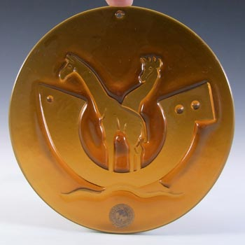 Holmegaard Michael Bang Amber Glass Noahs Arc Giraffes Suncatcher