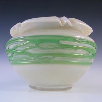 Art Nouveau Iridescent Green Trailed Glass Antique Vase