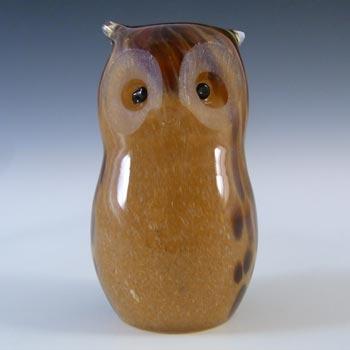 MARKED Langham British Vintage Speckled Brown Glass Owl
