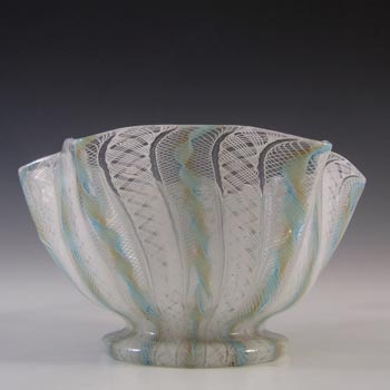 Salviati Murano Zanfirico & Aventurine Blue Glass Finger Bowl