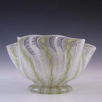 Salviati Murano Zanfirico & Aventurine Green Glass Finger Bowl