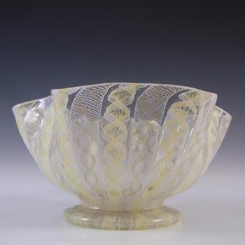 Salviati Murano Zanfirico & Aventurine Yellow Glass Finger Bowl