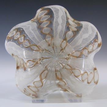 Salviati Vintage Murano Zanfirico & Aventurine Glass Finger Bowl