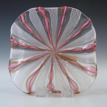 Murano White Zanfirico & Pink Filigree Aventurine Glass Bowl