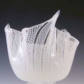 Murano White Zanfirico Filigree Glass Handkerchief Vase